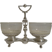 Top Quality Victorian Silver Plate and Glass Double Preserve c.1870
