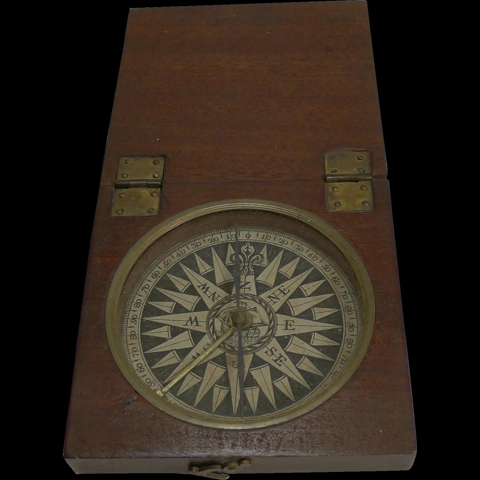 Large English Georgian Desk Compass c.1800 In Mahogany Case