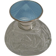 Art Deco Sterling Silver and Blue Guilloche Enamel Topped Perfume Bottle