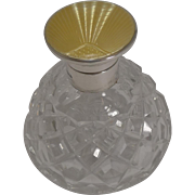 Art Deco Cut Crystal Perfume Bottle, Sterling Silver and Guilloche Enamel Top