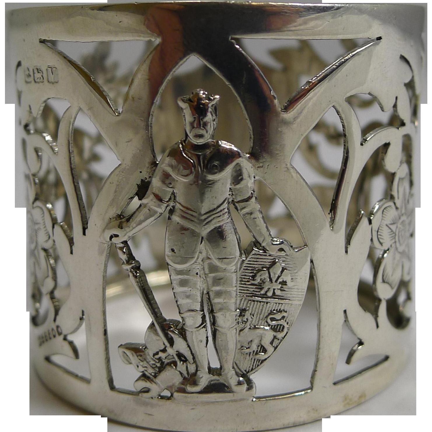 Unusual Vintage Sterling Silver Figural Napkin Ring - 1920