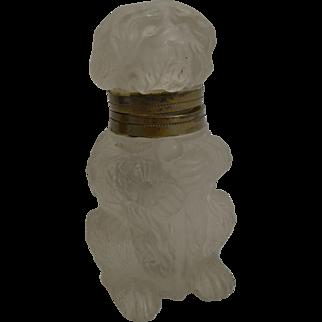 Antique Czechoslovakian Glass Novelty Inkwell - Dog c.1910