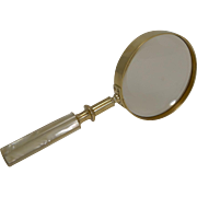 Antique English Brass and Mother of Pearl Magnifying Glass Dated 1891