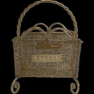 Antique English Brass Mesh Letters Rack c.1890
