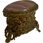 Antique English Brass and Agate Ring Box c.1880