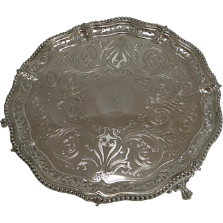 Handsome English Old Sheffield Plate Salver / Tray c.1840