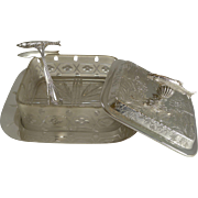 Top Notch Victorian English Sardine Dish / Box With Matching Tongs c.1890