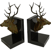 Magnificent Pair of Art Deco Figural Stag Bookends c.1930