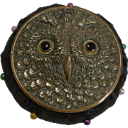 Antique Brass Novelty Pin Cushion - Owl With Glass Eyes c.1900