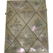 Exquisite Antique English Floral Engraved Mother of Pearl Card Case c.1860