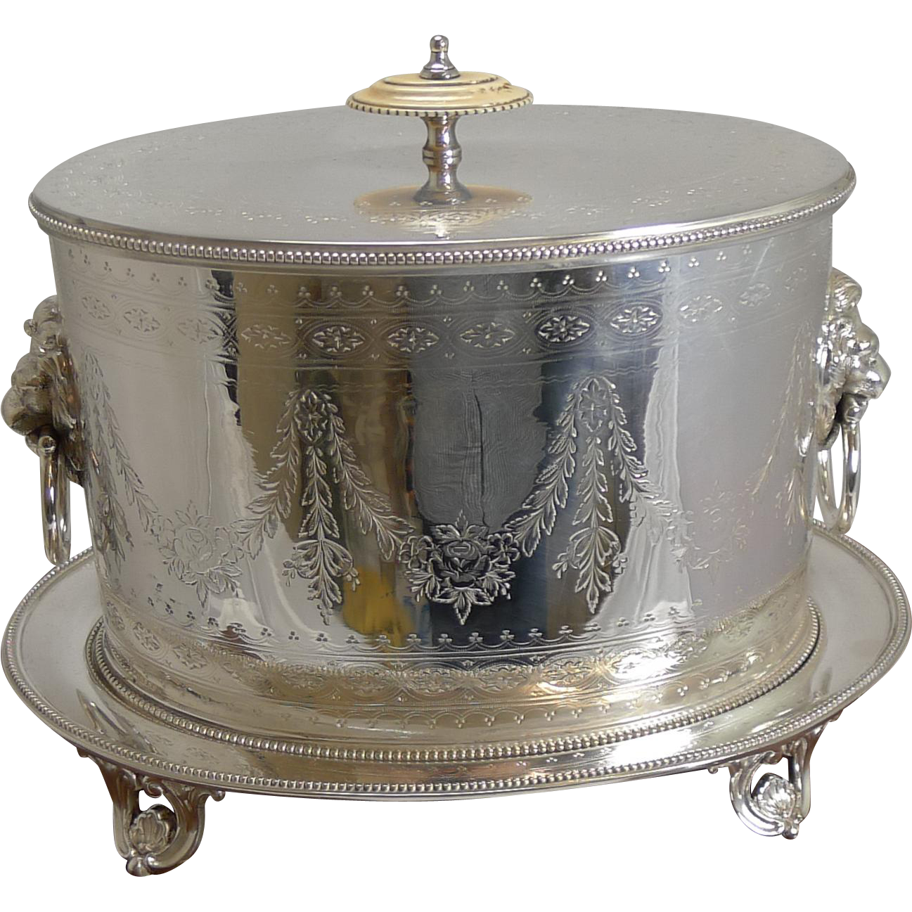 Magnificent Cased Elkington Silver Plated Biscuit Box - 1883