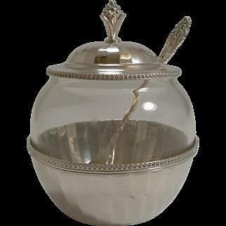 Vintage English Glass and Sterling Silver Jam / Preserve Jar - 1928