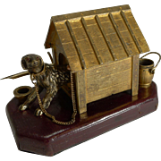 Antique English Novelty Inkwell / Desk Set - Dog In Kennel c.1880