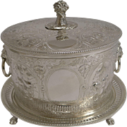 Antique English Silver Plated Biscuit Box c.1870