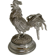 Grand Antique English Novelty Silver Plated Inkwell c.1890 - Cockerel / Rooster
