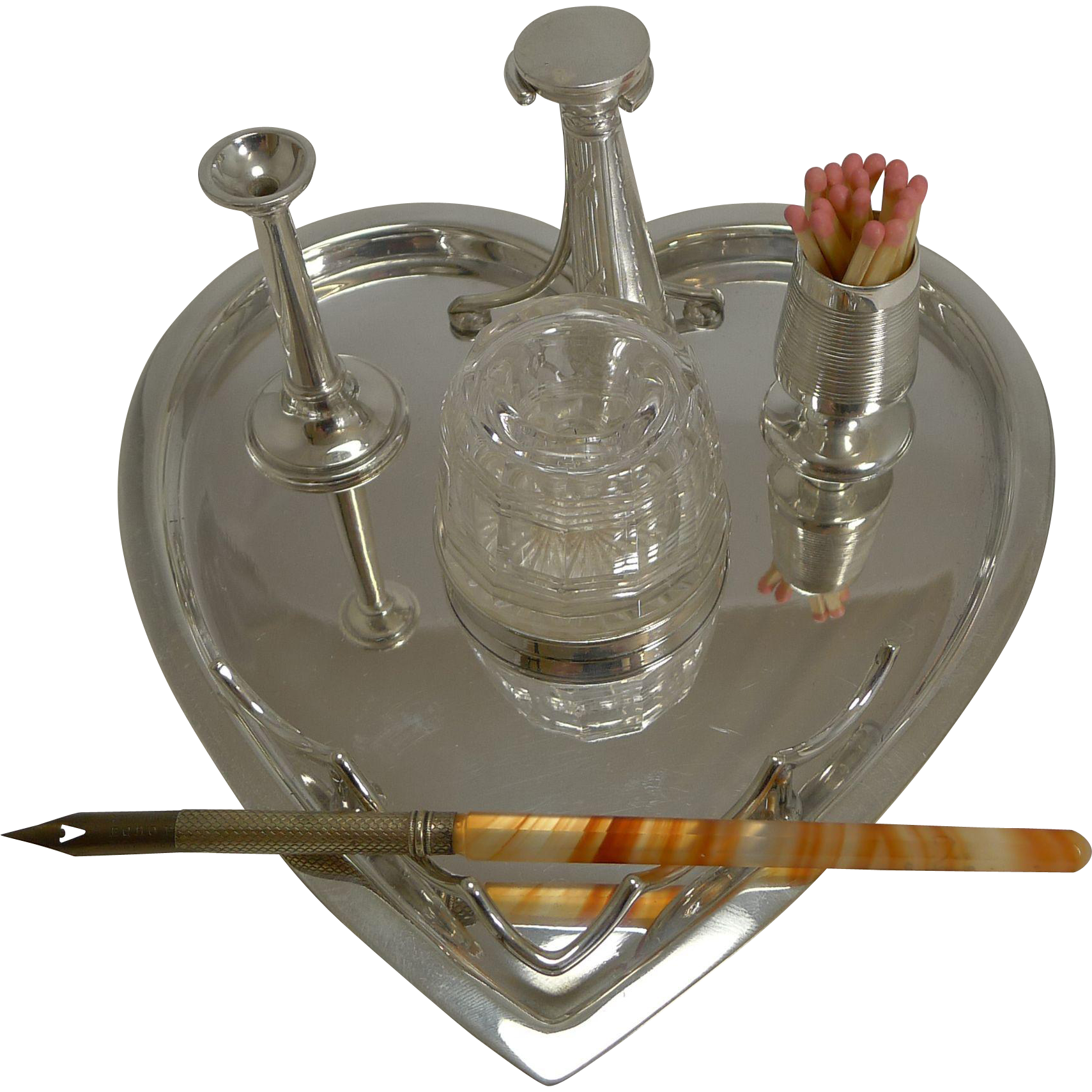 Antique Silver Plate Heart Shaped Desk Set by Hukin and Heath c.1900