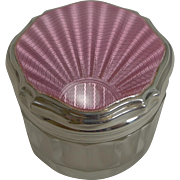 Art Deco Silver and Pink Guilloche Enamel Lidded Jar - 1935