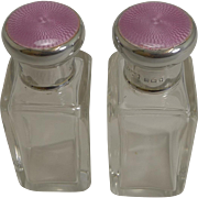 Pair Vintage English Sterling Silver & Pink Enamel Topped Scent Bottles - Asprey, London