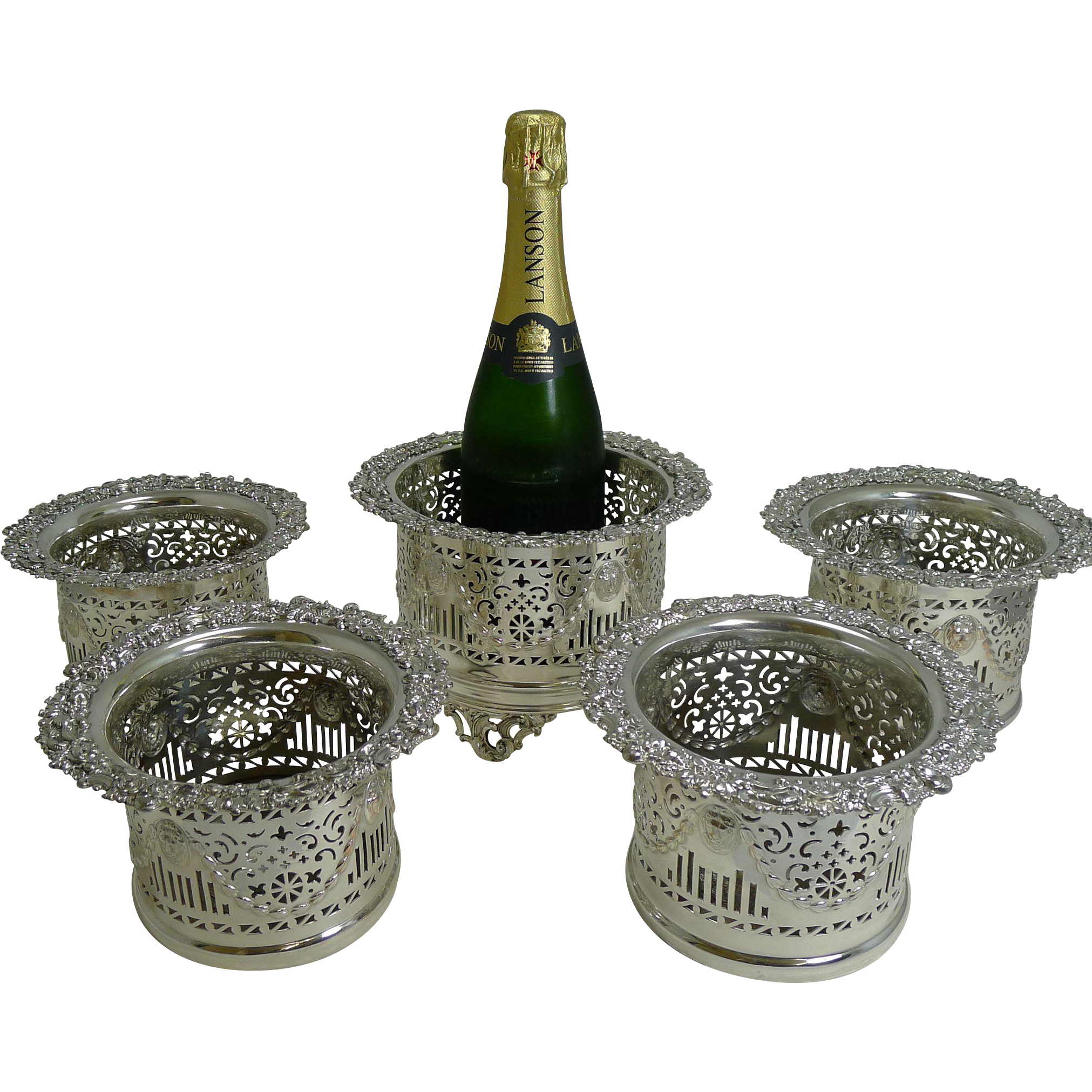 Suite Five Antique English Silver Plated Wine / Champagne Coasters or Holders c.1900