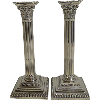 Pair English Victorian Sterling Silver Candlesticks - 1894