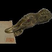 "Large 9"" Victorian Bronze Figural Letter Clip - Duck"