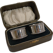 Smart Cased Pair Vintage English Sterling Silver Napkin Rings - 1932