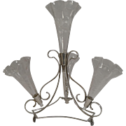Stunning Antique English Silver Plate and Glass Epergne c.1890