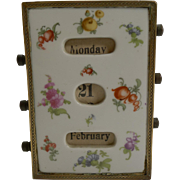 Pretty Antique French Hand Painted Porcelain Perpetual Desk Calendar
