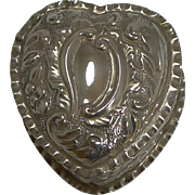 Antique English Heart Shaped Pill Box In Sterling Silver - 1895