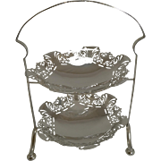 Superb Antique English Silver Plated Two Tier Cake Stand c.1900