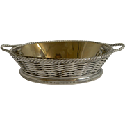 Antique English Silver Plated Basketweave Dish by Leuchars, London