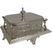 Antique English Cut Crystal and Silver Plate Butter Dish - Winged Cherubs