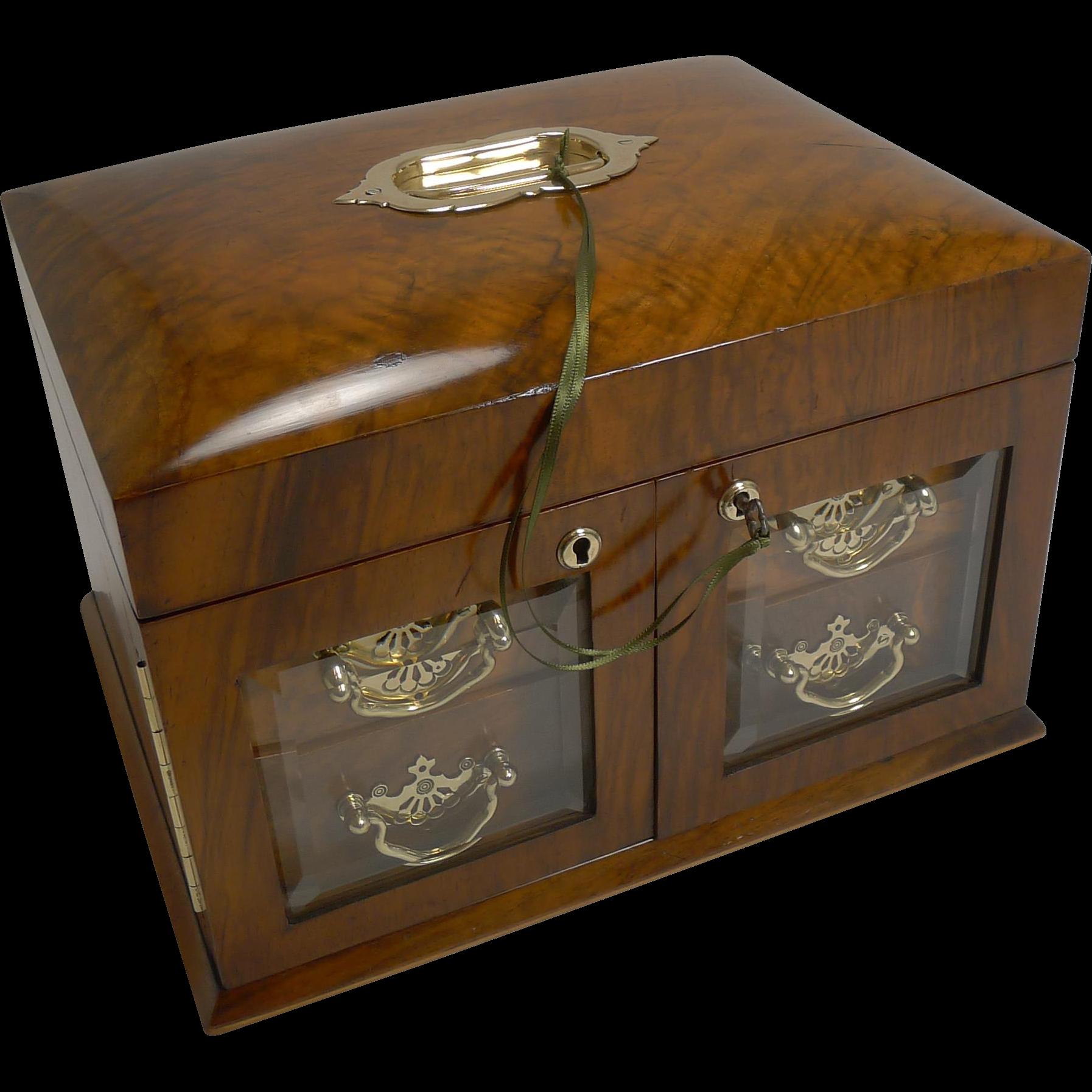 Large Antique English Walnut Jewellery Box / Cabinet - Bevelled Glass Doors c.1890