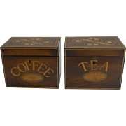 Rare Pair Antique English Caddies - Tea and Coffee c.1870