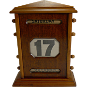 Antique English Mahogany Desk Top Perpetual Calendar c.1900