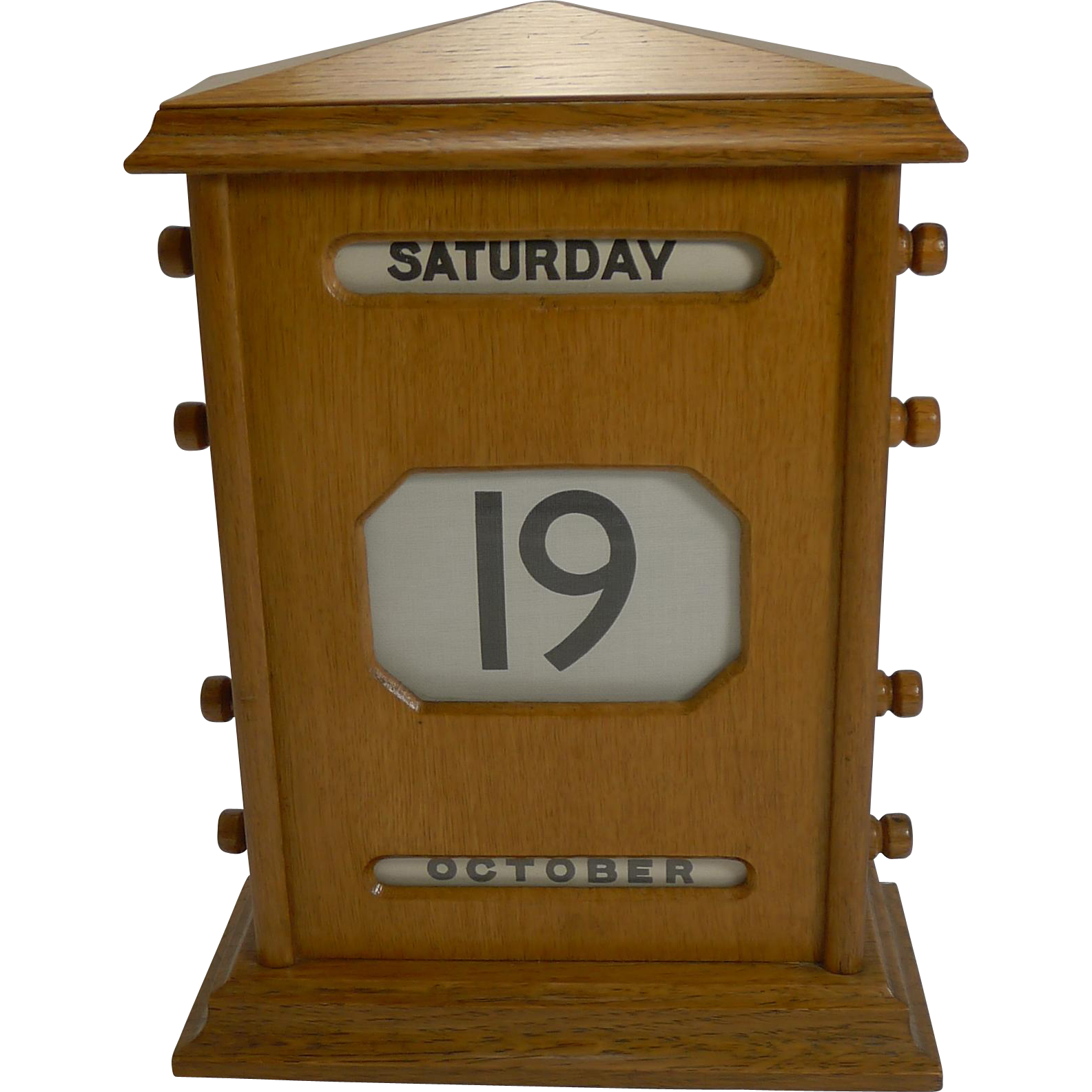 Large Vintage English Golden Oak Perpetual Calendar c.1930