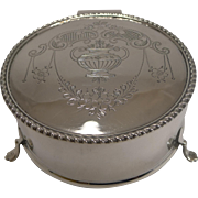 Pretty Antique English Sterling Silver Jewelry Box - 1915
