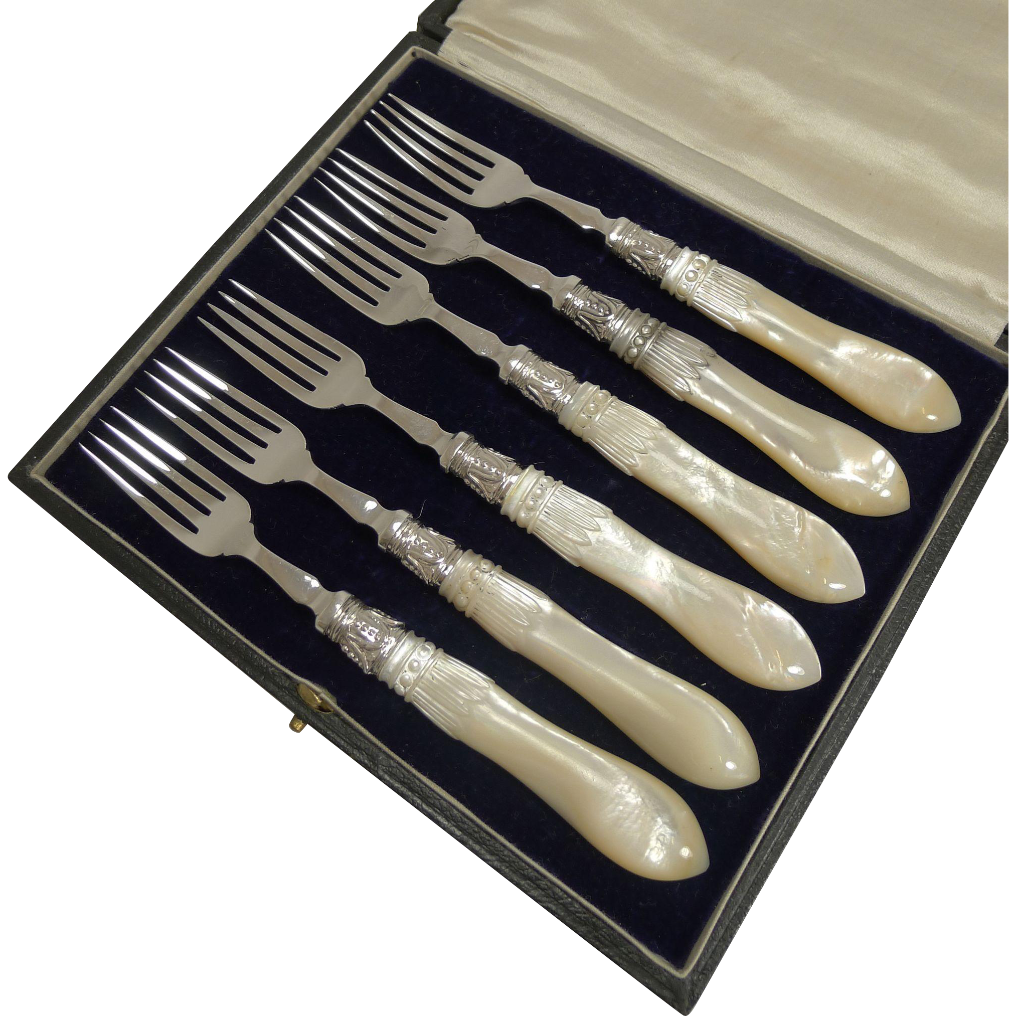 Antique English Sterling Silver & Mother of Pearl Cake or Desert Forks - 1913 / 1917