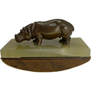 Fabulous Figural Bronze Desk Top Rocking Blotter by Asprey, London, c.1920 - Hippopotamus