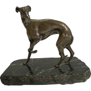 Antique English Greyhound Figure on Marble Base c.1910