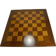 Large Antique English Inlaid Chess Board c.1910