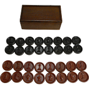 English Set Combined Bakelite Chess / Checkers In Wooden Box c.1930