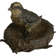 Wonderful Antique English Novelty Bronze Inkwell - Bird In Nest c.1880