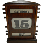 Oversized Antique English Mahogany Perpetual Calendar c.1900 - 12""