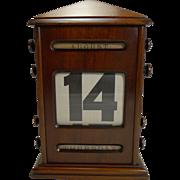 Large Early Antique English Mahogany Perpetual Desk Calendar c.1900