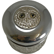 Antique English Vanity Jar - Silver Plated Owl With Glass Eyes c.1900