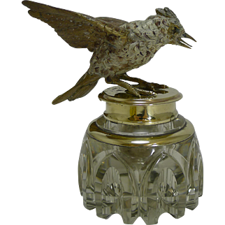 Stunning Large Antique Inkwell - Cold Painted Bronze Bird c.1890