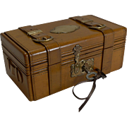 Antique French Miniature Carved Fruitwood Trunk by Seugnot, Paris c.1880