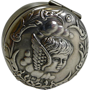 Charming Antique Sterling Silver Pill Box - Winged Cherub / Angel - 1906
