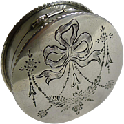 Antique English Sterling Silver Pill Box - Ribbons and Bows